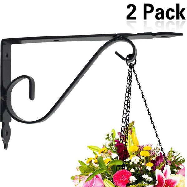 Budget friendly yojoloin hand fogred curved hooks 7 9 set of 2 plant wall mount hangers hooks hanging brackets metal wall mount for plant flowers lantern boards2 pcs