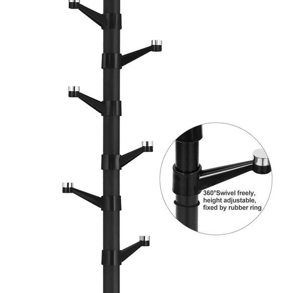 Shop here songmics coat rack purse rack hall tree with 14 rotating plastic hooks black urcr19b