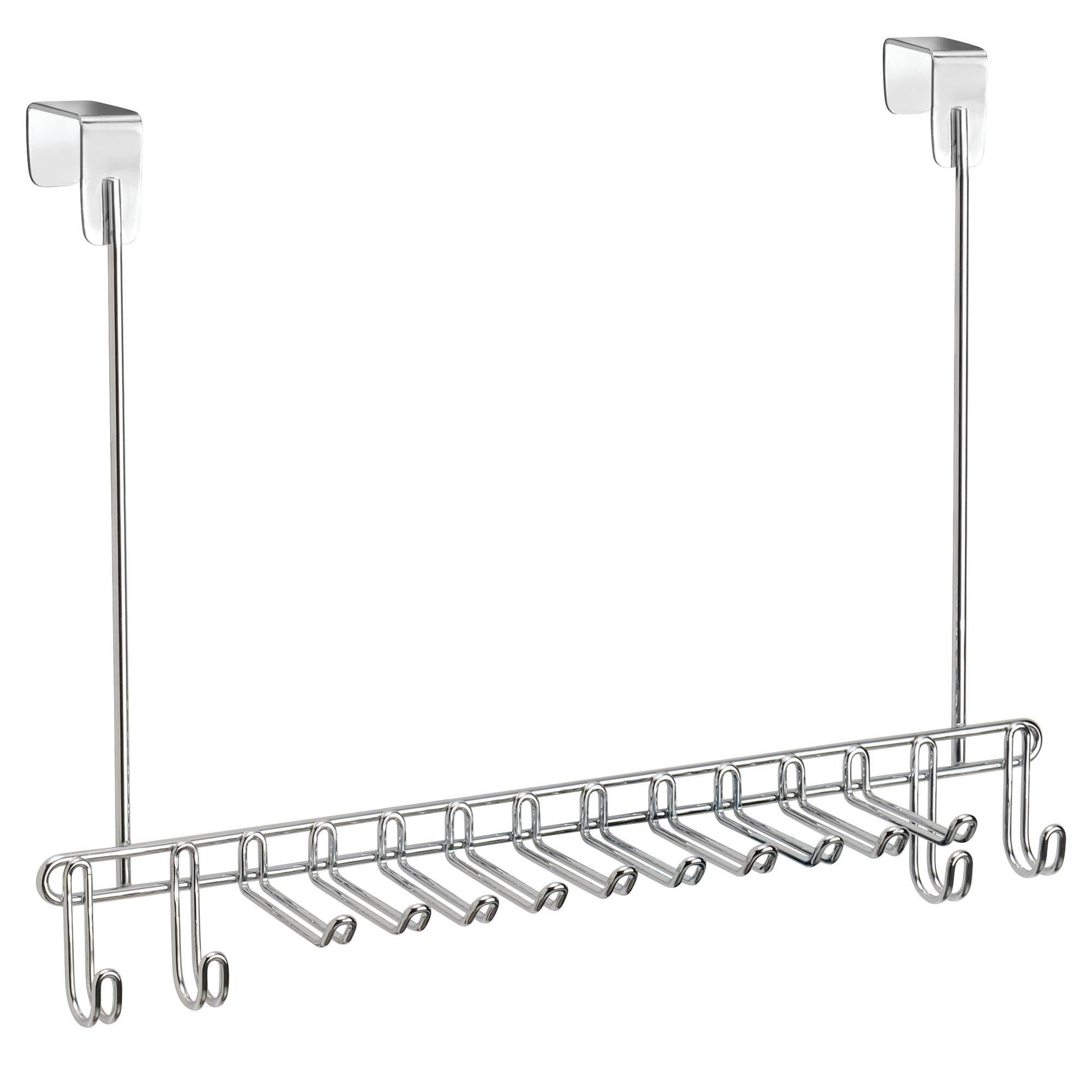 Shop here mdesign metal over door hanging closet storage organizer rack for mens and womens ties belts slim scarves accessories jewelry 4 hooks and 10 vertical arms on each 2 pack chrome 1