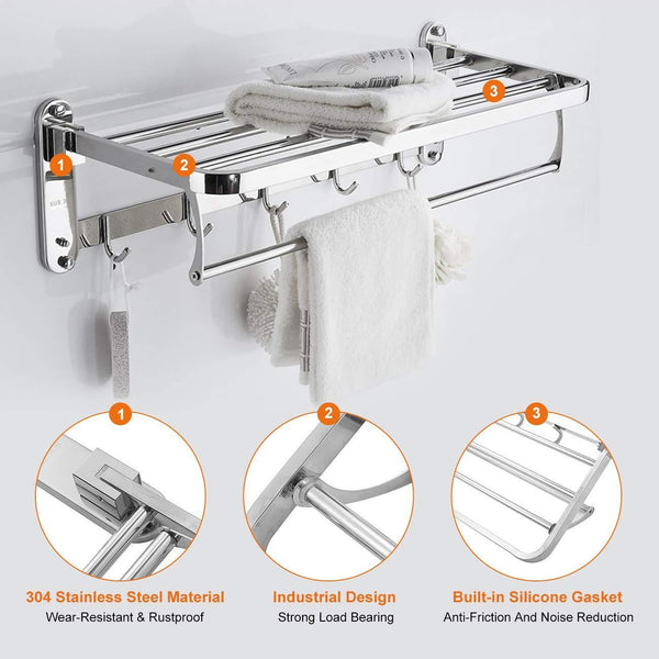 Budget beamnova foldable towel rack 20 inch with shelf towel rack with bar hooks wall mounted easy installation towel holder stainless steel for shower bathroom kitchen