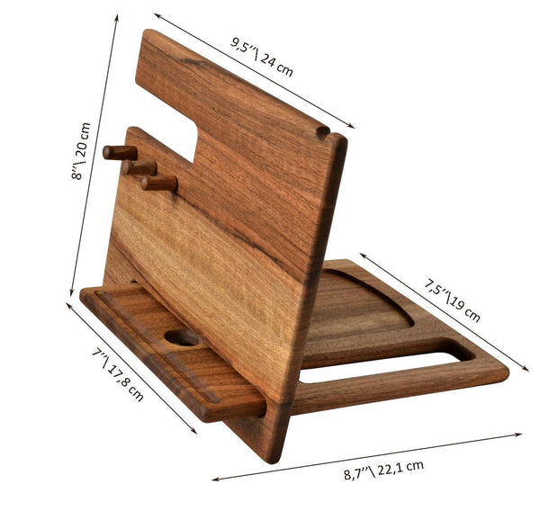 Shop wood phone docking station walnut desk organizer tablet holder key hooks coin wallet watch stand handmade men graduation gift husband anniversary dad birthday idea nightstand for him gadget