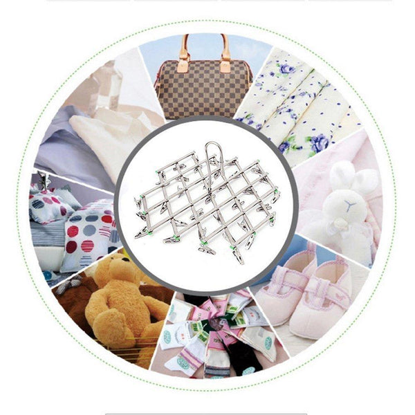 Budget friendly qinglele 2pcs swivel hook stainless steel 35 pegs drying rack clothes hanger for underwear socks gloves