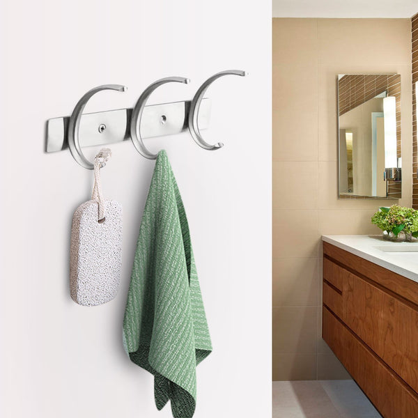 Top rated dreamsbaku wall mounted coat hooks rail robe towel racks 5 tri hooks for kitchen bedroom stainless steel