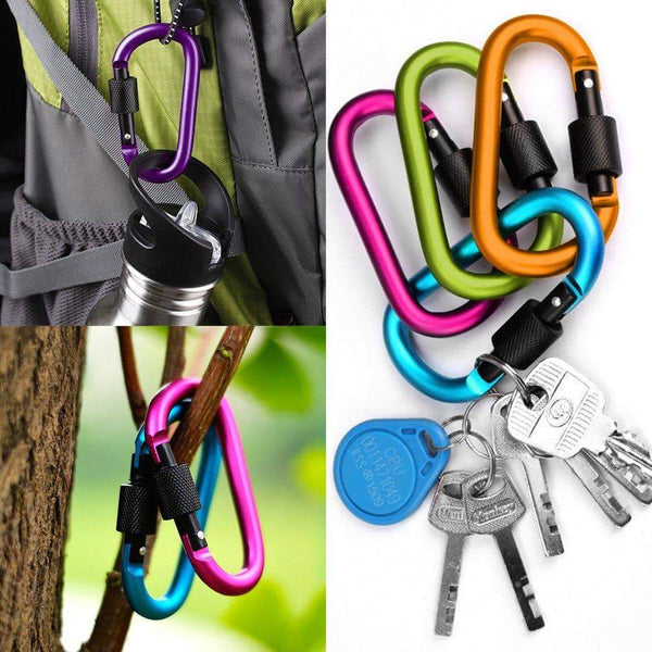 Explore yucool 10 pack aluminum d ring carabiners d shape keychain clips hook spring loaded for camping hiking fishing with 10 stainless steel wire keychains 10 key rings multi color