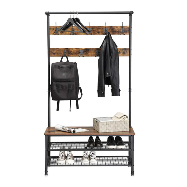 Shop for vasagle industrial coat rack with storage bench pipe style large hat and coat stand with 9 hooks and shoe rack multifunctional hall tree sturdy iron frame uhsr47bx