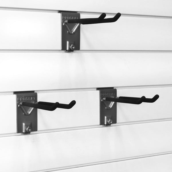 Organize with proslat 13010 double 8 inch locking hooks designed for proslat pvc slatwall 3 pack