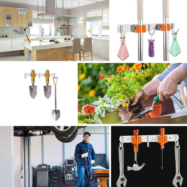 Discover the best vodolo mop broom holder wall mount garden tool organizer stainless steel duty organizer with 2 racks 3 hooks for kitchen bathroom closet garage office laundry screw or adhesive installation orange