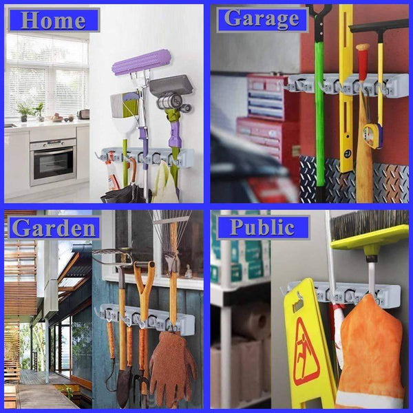 Buy now bosszi broom holder mop holder gardening tools organizer wall mounted storage racks with 5 positions and 6 hooks holds up to 11 tools firmly as rake broom mop handles etc