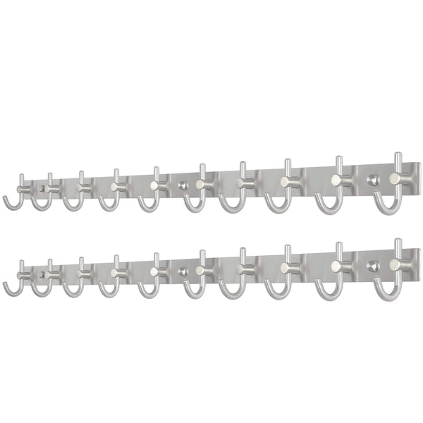 Best seller  webi wall mounted coat rack hooks 30 inch 10 hooks coat hat hook rail heavy duty stainless steel 304 decorative robe hooks for bathroom kitchen entryway closet foyer hallway brushed nickel 2 packs