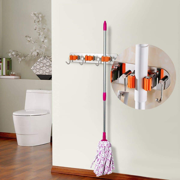 Home bosszi broom holder mop holder gardening tools organizer sus 304 stainless steel brushed non slip silicone self adhesive mounted storage racks with 3 positions 4 hooks holds up to 7 tools firmly