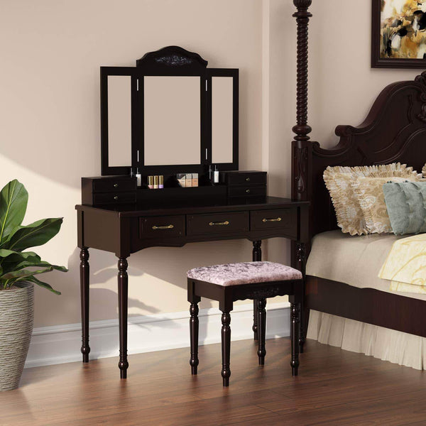 Buy homecho vanity table set with 7 drawers and 6 makeup organizers removable tri folding mirror and 8 necklace hooks with cushioned stool dark espresso hmc md 010