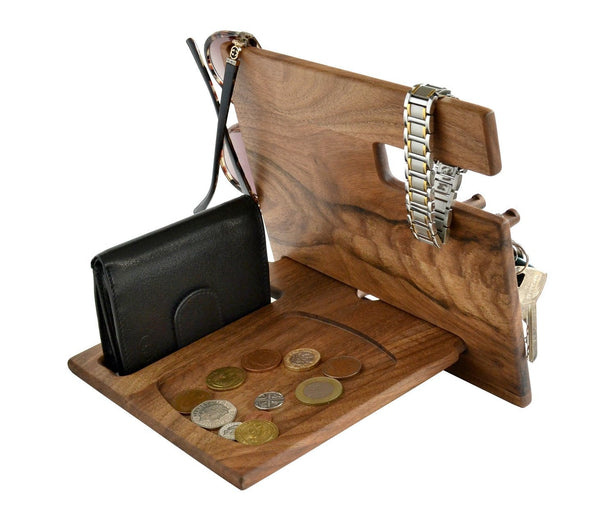 Save on wood phone docking station walnut desk organizer tablet holder key hooks coin wallet watch stand handmade men graduation gift husband anniversary dad birthday idea nightstand for him gadget