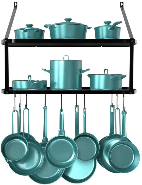 Purchase geekdigg 29 5 inch wall mounted pot rack storage shelf with 2 tier 10 hooks included kitchen pot racks hanging storage organizer black