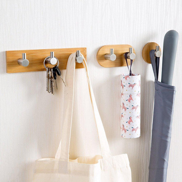 Discover the best adhesive key holder for wall heavy duty wall hooks stainless steel peg natural bamboo hanger for robe towel bag modern bathroom kitchen office cabinet door organizer rack 1 hook
