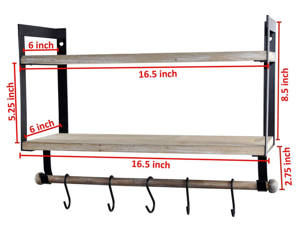Home spiretro wall mount 2 tier floating shelves with metal bracket rustic torched wood with removable towel rod and s hooks to storage organize hang and display for kitchen book study bathroom grey