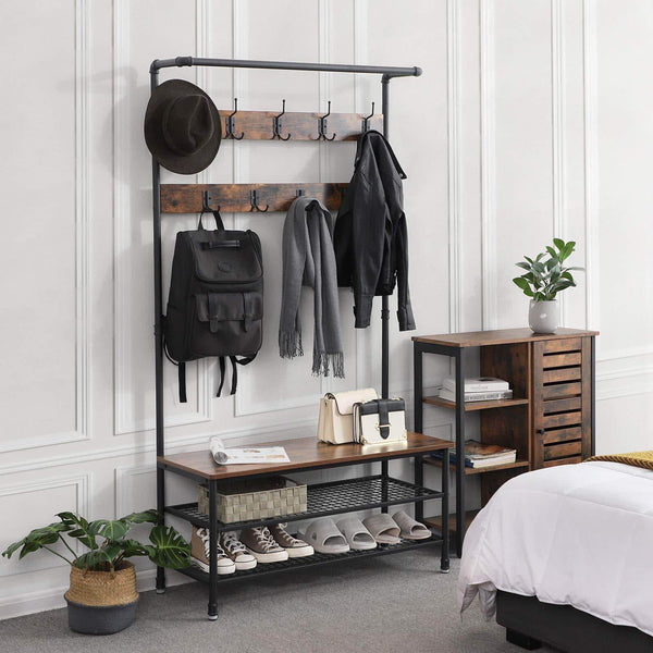 Selection vasagle industrial coat rack with storage bench pipe style large hat and coat stand with 9 hooks and shoe rack multifunctional hall tree sturdy iron frame uhsr47bx
