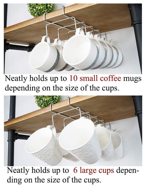 Home bafvt coffee mug holder 304 stainless steel cup rack under cabinet 10hooks fit for the cabinet 0 8 or less