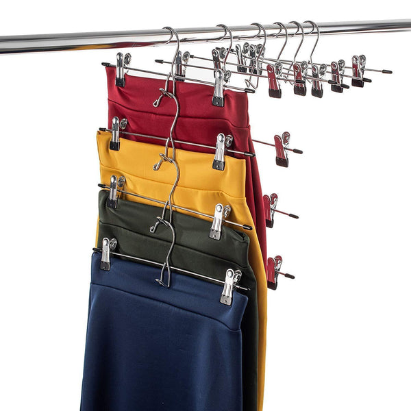 Discover the best heavy duty add on skirt hangers with clips 12 pack multi stackable add on hangers adjustable clip pants hanger skirt hanger with clips chrome hook cascading clip hanger jeans slacks bottoms