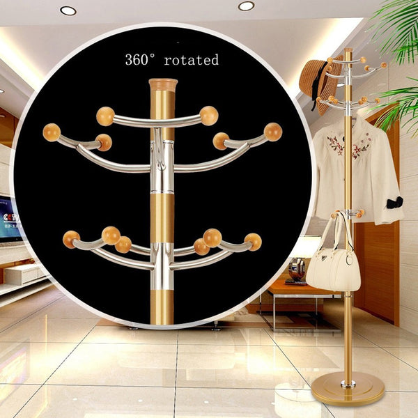 Coat Hat Rack Stainless Steel Simple Assembly Hangers Landing Creative Racks ( Color : Gold , Size : F )