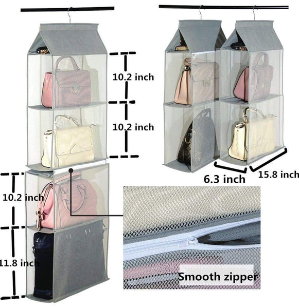 Results zaro 2 in 1 hanging shelf garment organizer for bags clothes 4 shelves practical closet purse storage collapsible space saver accessory breathable mesh net with hooks hanger easy mount gray