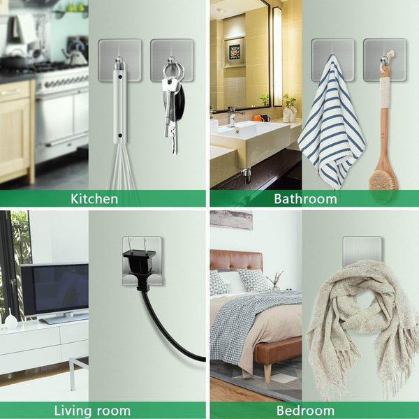 Discover the adhesive hooks stainless steel wall hooks hanger 4 key hooks and 2 plug holder hook double hooks for hanging kitchen bathroom office
