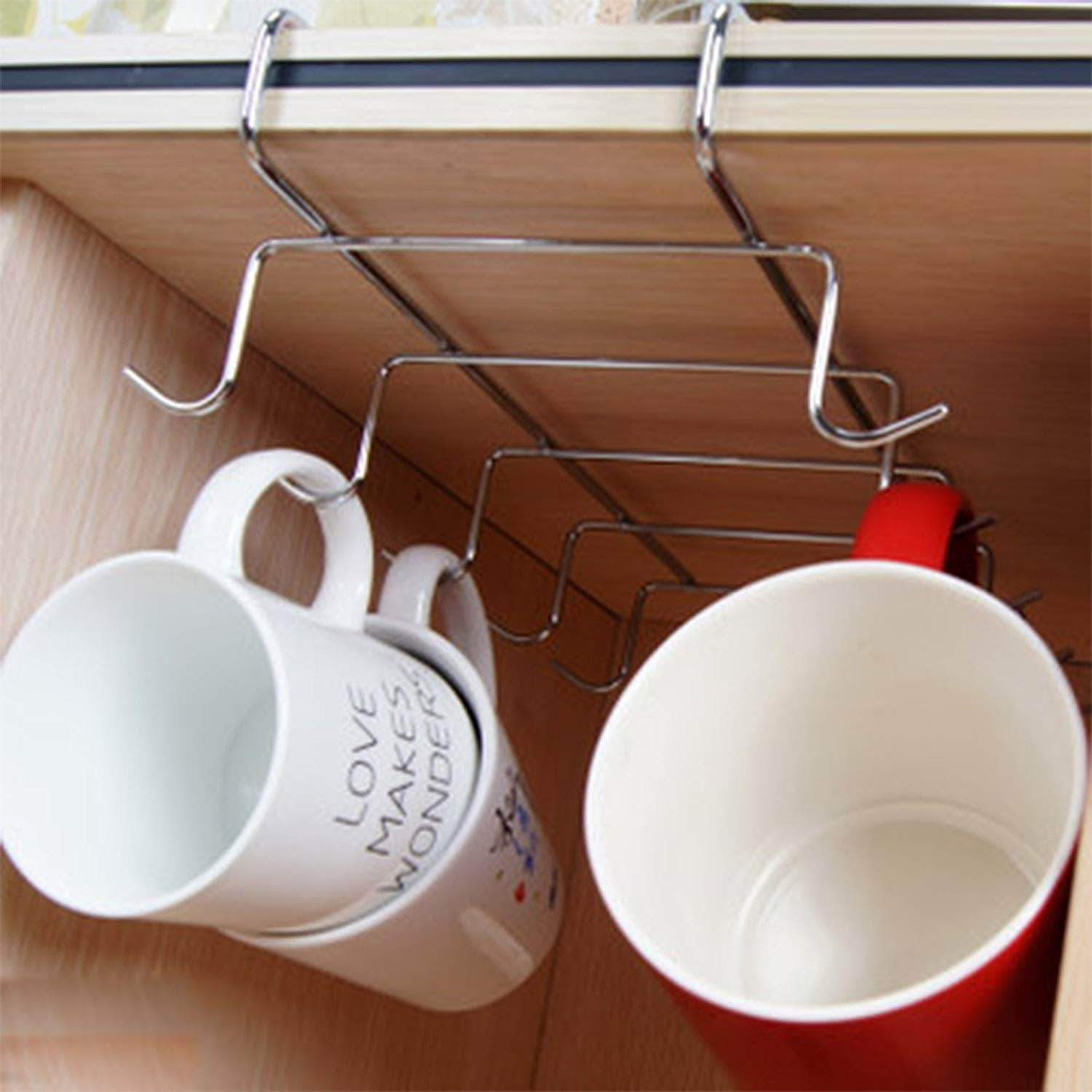 Amazon best happy trees cup storage rack with 10 hooks mug holder rack under cabinet