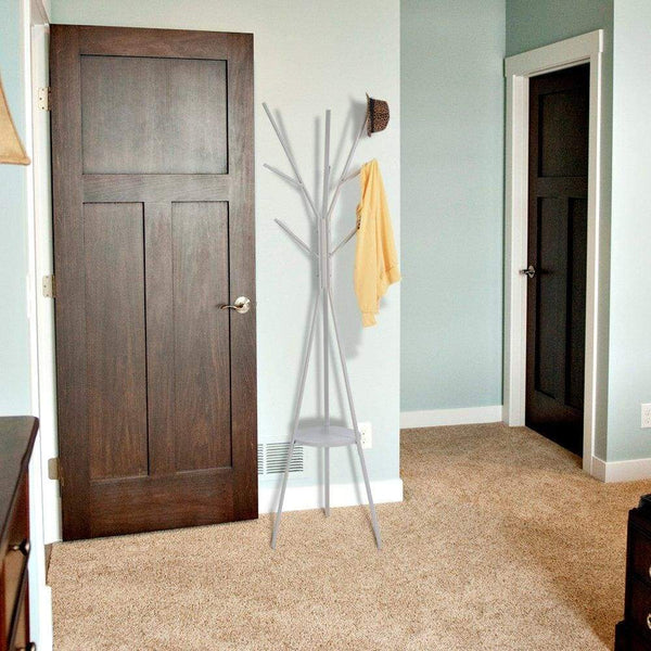 Exclusive home bi coat rack stand coat hanger with 9 hooks for holding jacket hat purse in gray