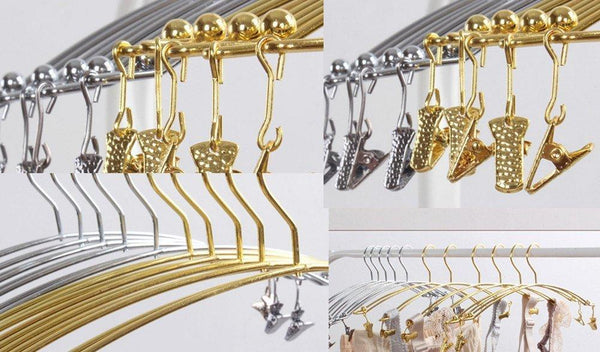 DEWEL 5Pcs Stainless Steel Women Clothes Bra Shorts Underwear Drying Rack Hanger (Gold)