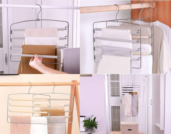 Buy now knocbel pants clothes hanger closet organizer 4 layers non slip swing arm hangers hook rack for slacks jeans trousers skirts scarf 2 pack beige