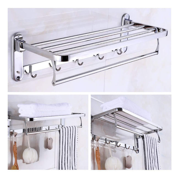 Best beamnova foldable towel rack 20 inch with shelf towel rack with bar hooks wall mounted easy installation towel holder stainless steel for shower bathroom kitchen