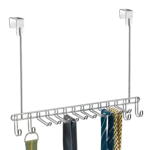 Purchase mdesign metal over door hanging closet storage organizer rack for mens and womens ties belts slim scarves accessories jewelry 4 hooks and 10 vertical arms on each 2 pack chrome