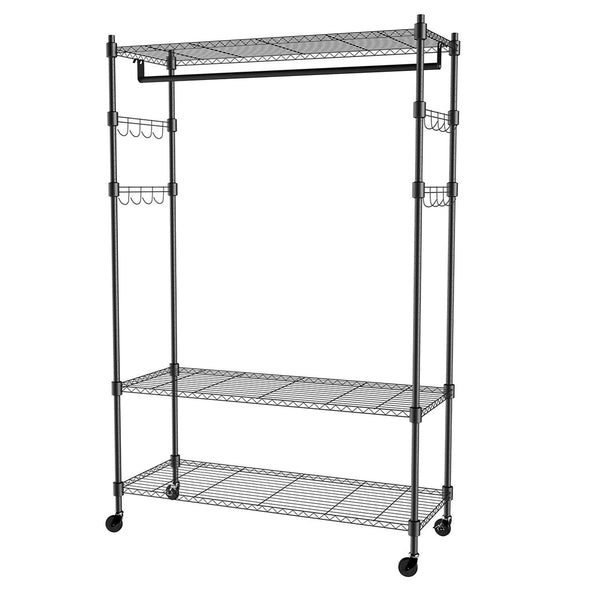 Select nice homdox 3 tiers large size heavy duty wire shelving garment rolling rack clothing rack with double clothes rods and lockable wheels 1 pair side hooks black