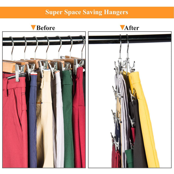 Get frezon pants hangers space saving skirt hangers with clips metal trouser clip hangers four tier heavy duty ultra thin with 360 degree chrome swivel hook 5 pack
