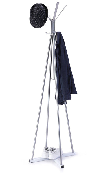 On amazon wilshine coat tree heavy sturdy metal coat rack with umbrella stand coat racks free standing with 8 hooks silver white