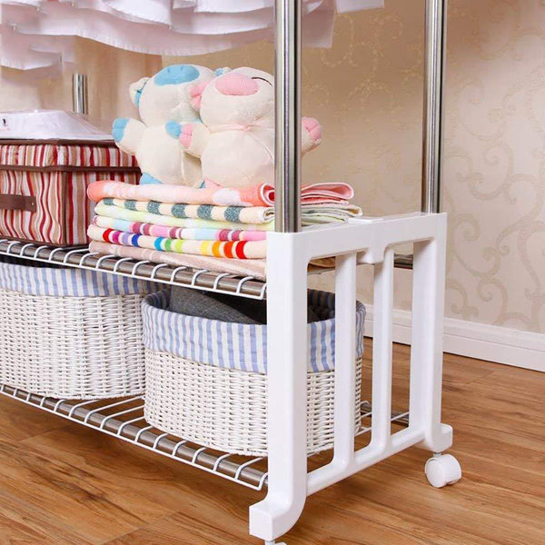XQY Drying Rack Hangers Airer Clothes Stainless Steel Double Lever Floorstanding Telescopic Drying Rack Indoor Balcony Hanging Clothes Double Layer Shelf Clothes Rack
