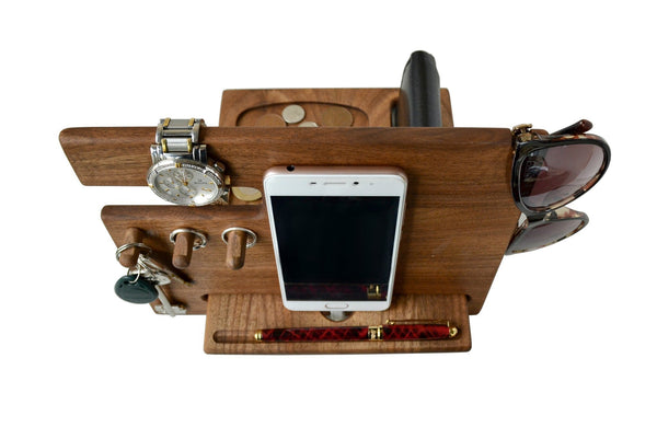 Save wood phone docking station walnut desk organizer tablet holder key hooks coin wallet watch stand handmade men graduation gift husband anniversary dad birthday idea nightstand for him gadget