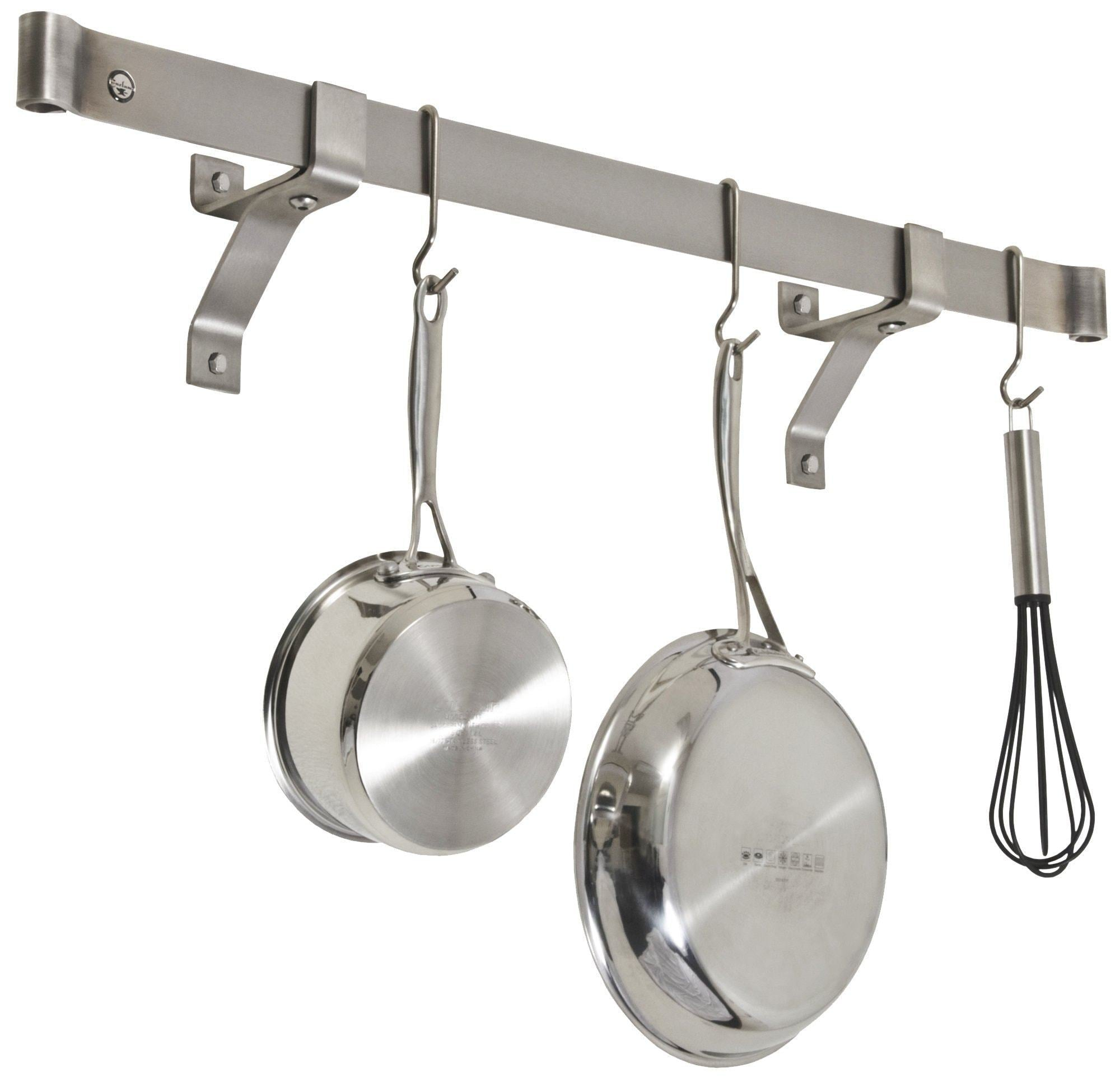 Kitchen enclume premier 36 inch rolled end bar wall or ceiling pot rack use with wall brackets or captain hooks stainless steel