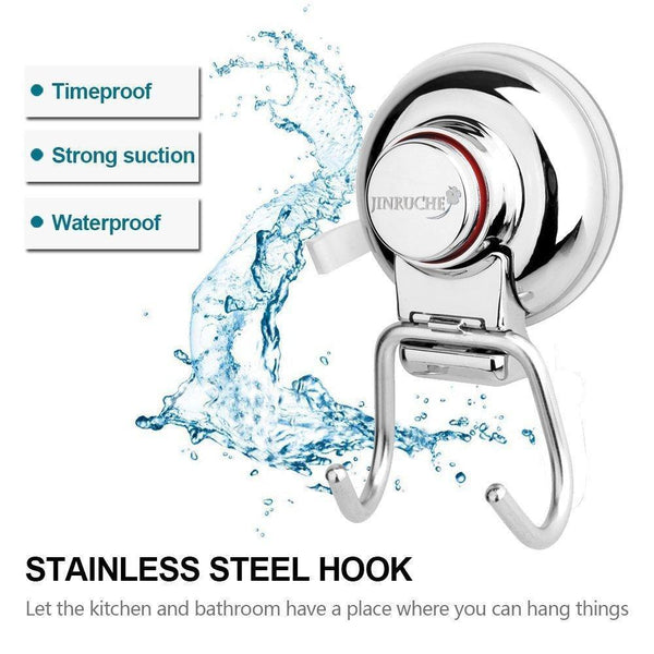 Top rated jinruche suction cup hooks strong stainless steel hooks for kitchen bathroom towel robe shower bath coat removable hooks for flat smooth wall surface never rust stainless steel 3 pack