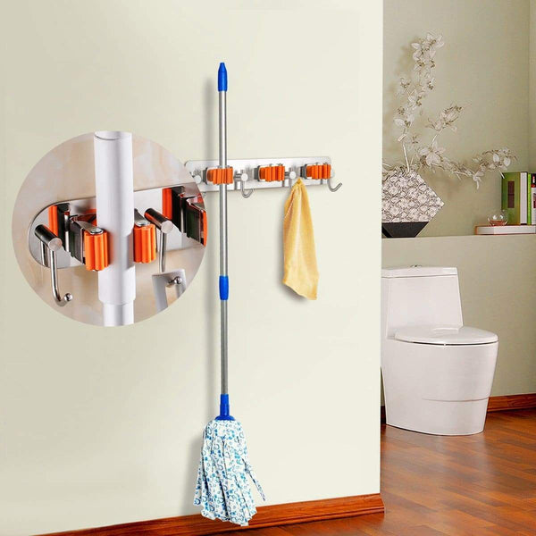 Exclusive bosszi broom holder mop holder gardening tools organizer sus 304 stainless steel brushed non slip silicone self adhesive mounted storage racks with 3 positions 4 hooks holds up to 7 tools firmly