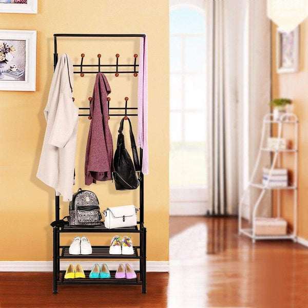 Get songmics entryway coat rack with storage shoe rack hallway organizer 18 hooks and 3 tier shelves metal black urcr67b