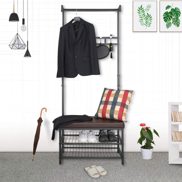 Try hromee vintage 4 in 1 hall tree with leather bench 5 coat rack hooks metal and wood shoe shelf organizer for entryway foyer