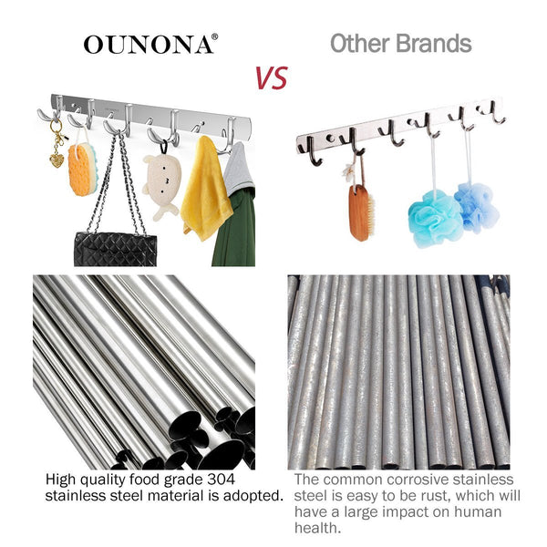 Storage ounona wall coat rack coat hooks wall mounted stainless steel hook rack for clothes 10 hooks