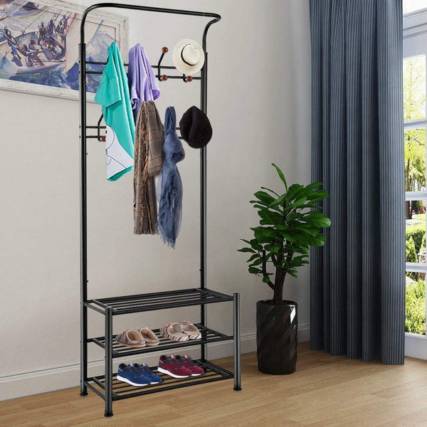 Related tomcare coat rack with 3 tier shoe rack hall tree entryway bench organizer 18 hooks coat hanger hat racks heavy duty with shoe storage shelves metal black for doorway hallway