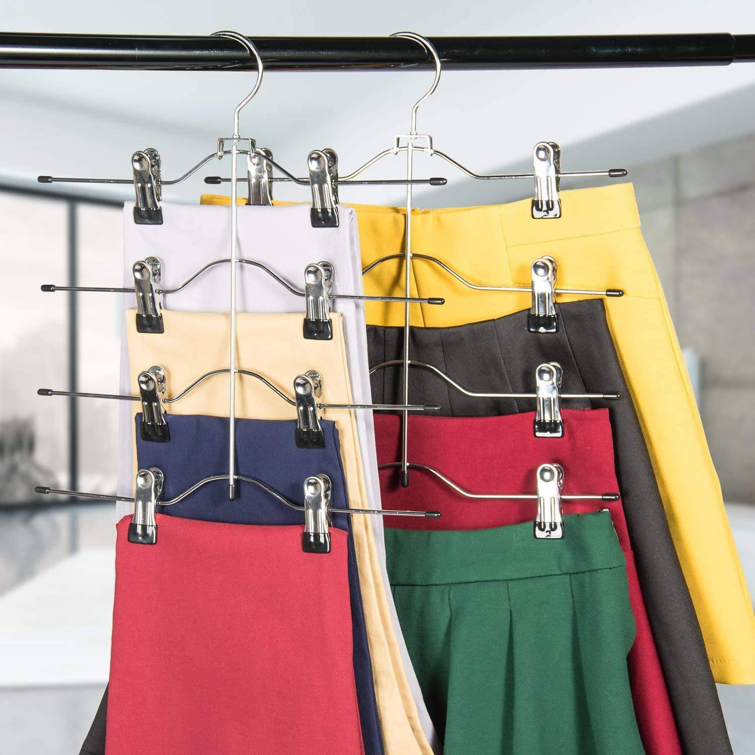 Discover the best frezon pants hangers space saving skirt hangers with clips metal trouser clip hangers four tier heavy duty ultra thin with 360 degree chrome swivel hook 5 pack