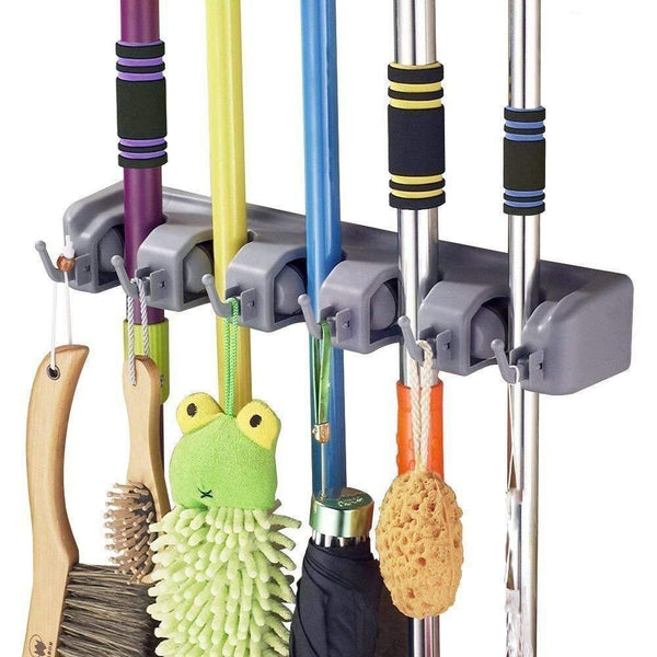 Best seller  shsycer mop and broom holder wall mounted garden storage rack 5 position with 6 hooks garage holds up to 11 tools for garage garden kitchen laundry offices