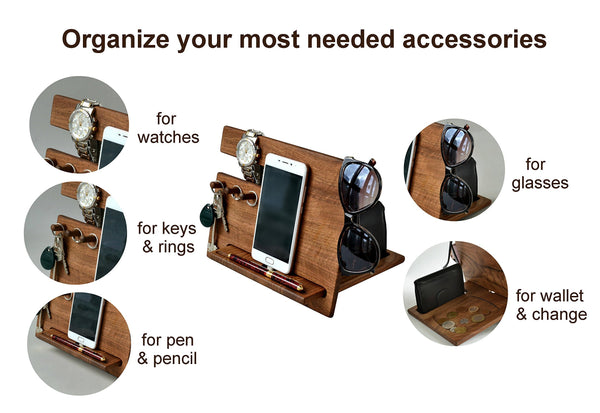 Selection wood phone docking station walnut desk organizer tablet holder key hooks coin wallet watch stand handmade men graduation gift husband anniversary dad birthday idea nightstand for him gadget