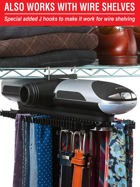 Budget storagemaid motorized tie rack organizer for closet with led lights battery operated holds 72 ties and 8 belts includes j hooks for wire shelving bonus tie travel pouch tie clip