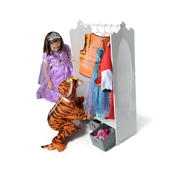 Buy milliard dress up storage kids costume organizer center open hanging armoire closet unit furniture for dramatic play with mirror baskets and hooks