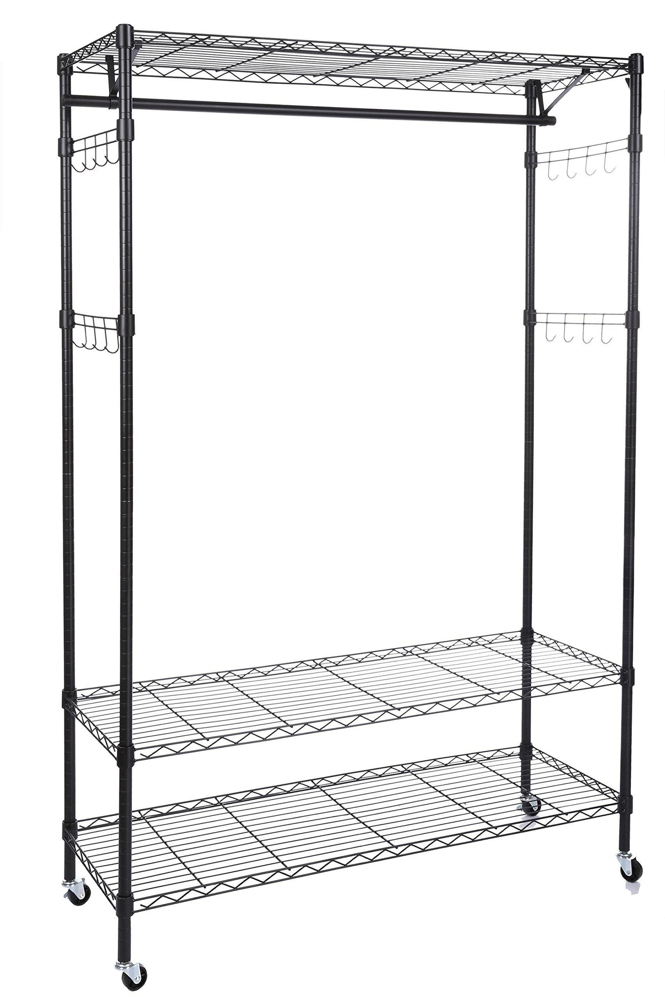 New homdox 3 tiers big size heavy duty wire shelving unit garment rack with hanger bar wheels 2 pair side hooks black