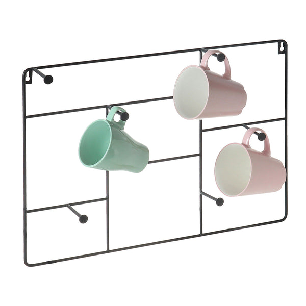 Kitchen mygift modern wall mounted 6 hook metal mug cup rack